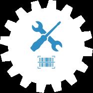 Zahnrad Symbol mit über Kreuz liegenden Schraubendreher und Doppelmaulschlüssel