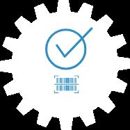 Kreis mit Haken - Symbol für abgeschlossene Aufgabe. Unter diesem ein EAN-Code